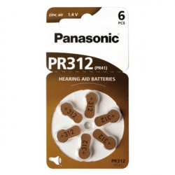 Panasonic Zinc-Air PR312 6-pack