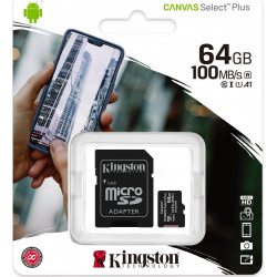 Kingston Canvas Plus microSDHC with adapter 64GB Class 10/UHS-I  SDCS/64GB