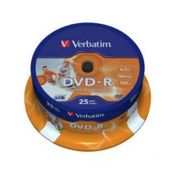 VERBATIM DVD-R 4.7GB 16X 25-pack printable cake box